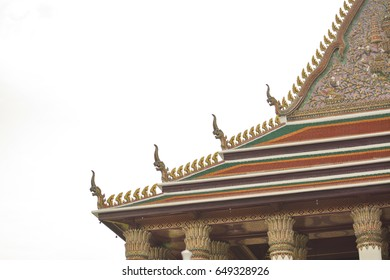 Beautiful Roof in the Thai Temple Roof , Bangkok , Thailand