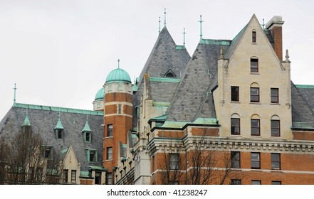 The beautiful roof and windows of the historic empress hotel in victoria, british columbia, canada