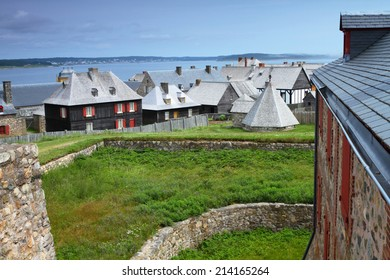 Beautiful roofs of old-fashioned buildings in Fortress of Louisbourg, Nova Scotia, Canada