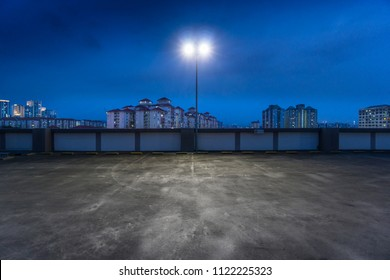 Beautiful rooftop empty car park at dawn