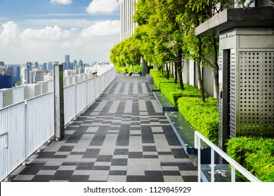 Beautiful rooftop garden. Outside terrace with scenic park and amazing city view. Modern benches under green trees along walkway. Urban eco design and mini-ecosystem. Landscaping in Singapore.