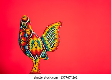 Beautiful rooster made with Huichol art