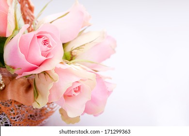 A Beautiful rose bourquet on bright background