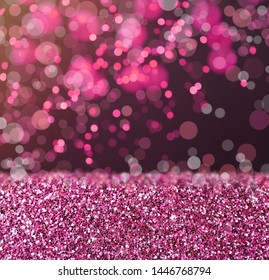 Beautiful rose gold glitter and bokeh effect on background