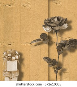 Beautiful rose on background of an old album sheet for invitation or congratulation