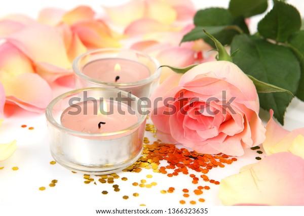 Beautiful Rose Petals Burning Candles Stock Photo (Edit Now
