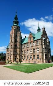 Beautiful Rosenborg Palace in Copenhagen, Denmark and blue sky
