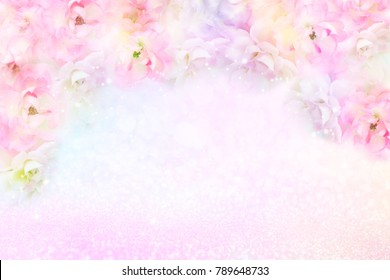 beautiful roses flower border on soft glitter background for valentine or wedding card in pastel tone ,copy space for text