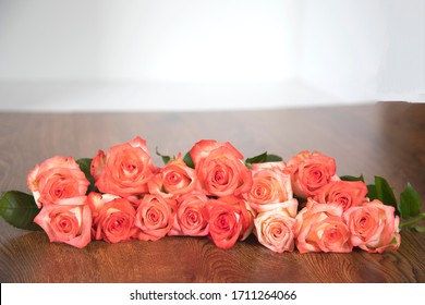 beautiful roses on the table background