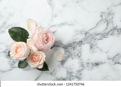 Beautiful roses and space for text on marble background, top view