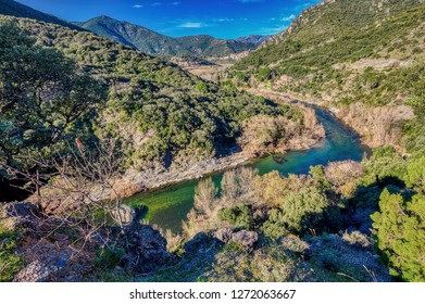 The beautiful route along the River Orb to the village of Vieussan in the Saint Chinian wine region of the Languedoc, France