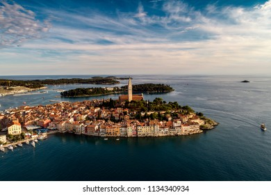 Beautiful Rovinj city - HDR aerial view taken by a professional drone from above the sea. The old town of Rovinj, Istria, Croatia