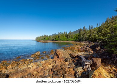 Beautiful rugged and remote coastline of Rennell Sound on the west coast of Graham Island of Haida Gwaii, British Columbia, Canada. Formerly called the Queen Charlotte Islands.