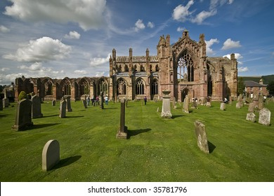 Beautiful ruin of Melrose Abbey in Scotland