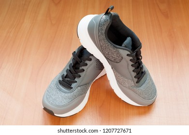 ab041f1231 Pair Mens Feet White Gray Sneakers Stock Photo (Edit Now) 737932306 ...