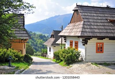 Beautiful rural houses of Vlkolinec traditional slovak village, Liptov