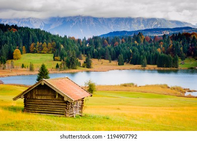 beautiful rural landscape in Bavaria with Karwendel mountains at autumn
