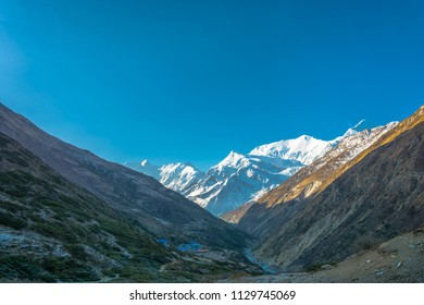 Beautiful rural landscape in the Himalayas on a spring Sunny day, Nepal.