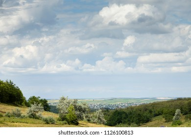 Beautiful rural landscape. Beautiful views along the highway Chisinau Cimislia. The Republic of Moldova.