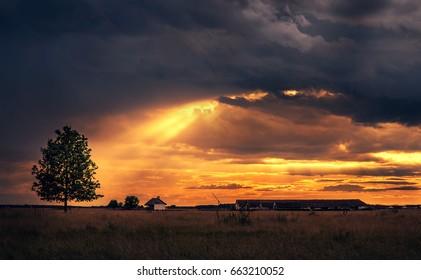 Beautiful rural scene after the rain. Dark toned photo