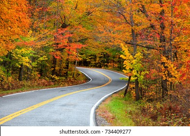 Beautiful rural Vermont drive in autumn time