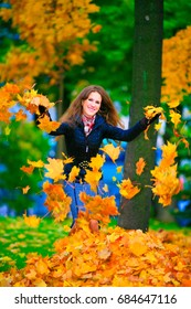 Beautiful russian girl in an autumn park