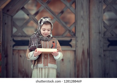A beautiful russian girl in shawl is holding a cage with a bullfinch. Image with selective focus and toning