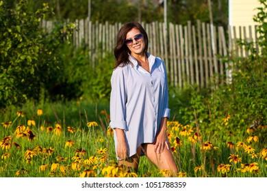 Beautiful Russian girl in the village
