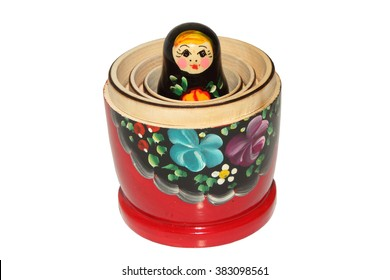 beautiful Russian nesting doll on white background