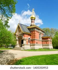 Beautiful russian orthodox Church in Kurpark Bad Homburg. The first stone built by last Emperor Czar Nikolai II. Hessen, Germany.
