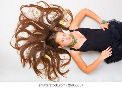 beautiful russian teenage girl on gray