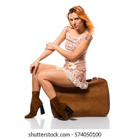 Beautiful russian woman with briefcase