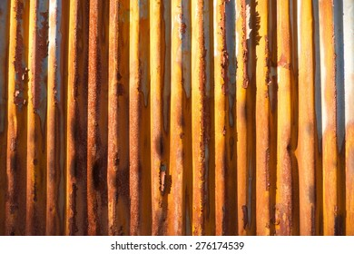 Beautiful rust on corrugated iron, in nice sunset light (landscape)