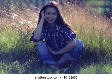 beautiful rustic happy brunette