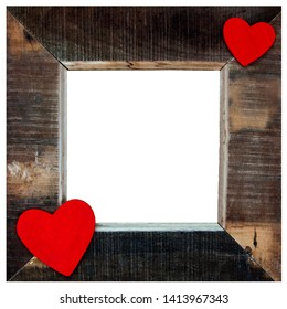 Beautiful rustic picture frame - vintage art design, with red hearts for love and Valentines Day - isolated on white.