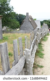 Beautiful rustic wooden fence in Plimoth Massachusetts.