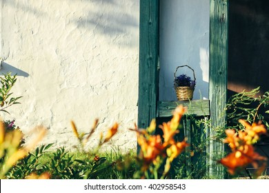 beautiful rustic wooden porch old building in sunny garden, exploring country, travel concept