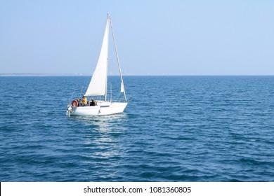 Beautiful sail boat in mediterranean sea, France