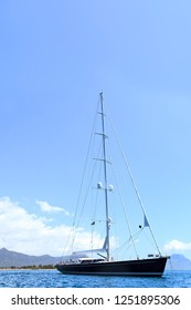 beautiful sailboat anchored in the bay