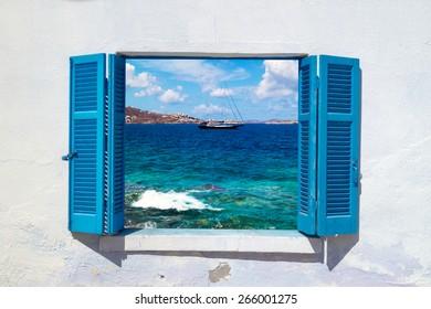 Beautiful sailboat sailing sail blue Mediterranean sea near Mykonos island, Greece