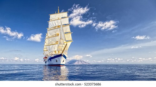 Beautiful sailing ship. Cruises and luxury.  Yachting. Sailing