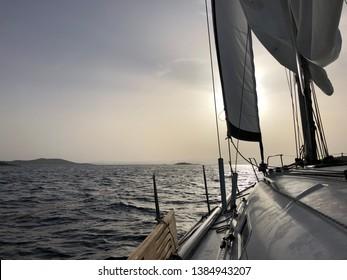 Beautiful sailing sunrise over the Adriatic sea near island of Žut.