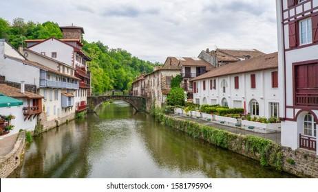 The beautiful Saint-Jean-Pied-de-Port  commune in the Pyrénées-Atlantiques department in south-western France