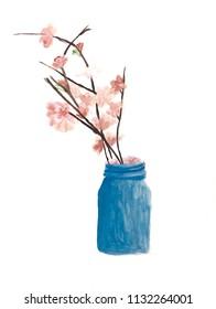 Beautiful Sakura flowers in a blue jar with watercolor painting