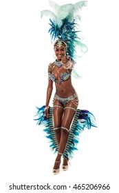 Beautiful samba dancer pointing finger at camera.