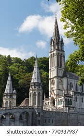 The beautiful Sanctuary of Our Lady of Lourdes at the French Pyrenees.