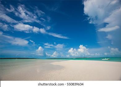 beautiful sand band , Great Exuma, Bahamas