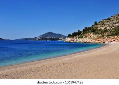 Beautiful sand beach in Becici resort, Montenegro