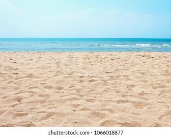Beautiful sand beach and blue sky