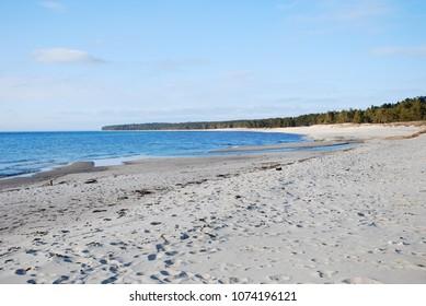Beautiful sand beach at Byrum on the Swedish island Oland